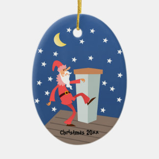 "Optional ""Add Text"" Funny Santa on Roof Ceramic Oval Ornament"