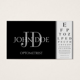 Optometrist Chart Black Business Card