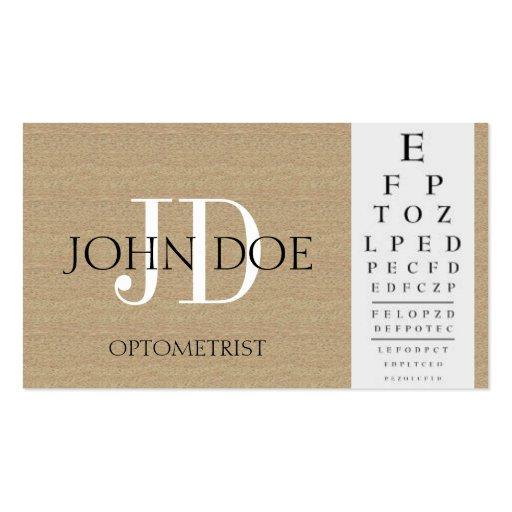 Optometrist chart dark tan business cards zazzle for Optometry business cards