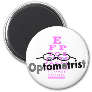 Optometrist Gifts, Eyeglasses and Eyechart Design 2 Inch Round Magnet