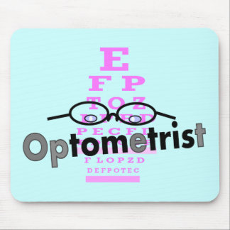 Optometrist Gifts, Eyeglasses and Eyechart Design Mouse Pad