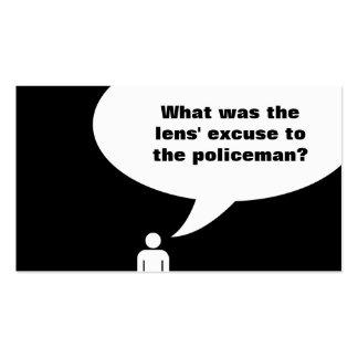 optometrist joke / police officer joke pack of standard business cards