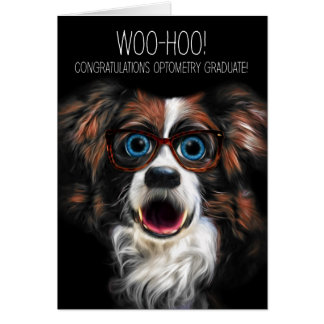 Optometry Graduate with Funny Dog in Eyeglasses Card