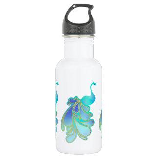 Opulent Peacock Bird Blue Gold Water Bottle
