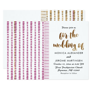 Opulent Purple and Faux Gold Wedding Invitation