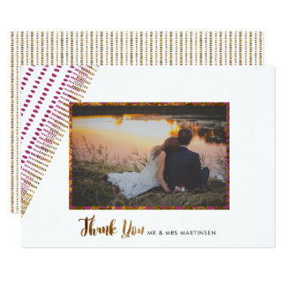 Opulent Purple and Faux Gold Wedding Thank You Card
