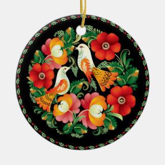 OPUS Hungarian Flower and Bird Ceramic Ornament