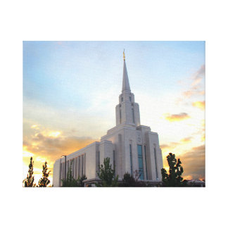 Oquirrh Mountain LDS temple utah mormon sunset Canvas Print