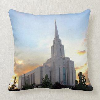 Oquirrh Mountain LDS temple utah mormon sunset Throw Pillow