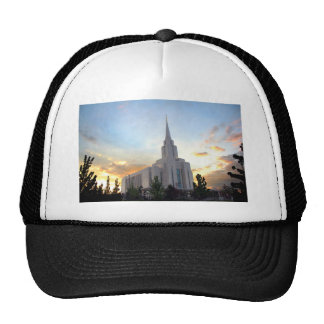 Oquirrh Mountain LDS Utah Temple sunset Trucker Hat