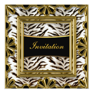 Or blanc de cadre d'anniversaire de noir d'or de carton d'invitation  13,33 cm