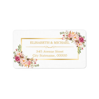 Or chic élégant et beau décor floral blanc étiquette d'adresse