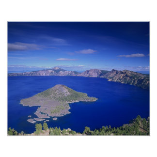 OR, Crater Lake NP, Wizard Island and Crater Posters