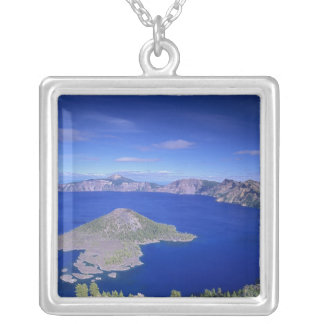OR, Crater Lake NP, Wizard Island and Crater Silver Plated Necklace