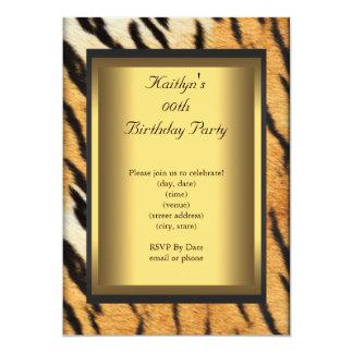 Or d'animal de tigre d'anniversaire de partie carton d'invitation  12,7 cm x 17,78 cm