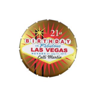 Or de faveur d'anniversaire de signe de Las Vegas Boites De Bonbons Jelly Belly