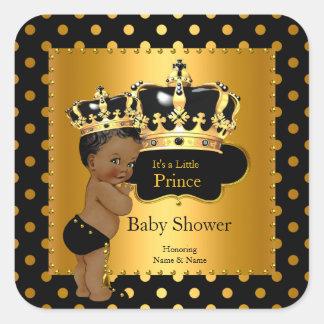 Or de noir de garçon de prince baby shower sticker carré