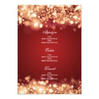 Or de scintillement de lumières de menu élégant de carton d'invitation  12,7 cm x 17,78 cm