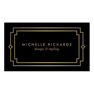 Or élégant d'art déco vintage professionnel, noir carte de visite standard