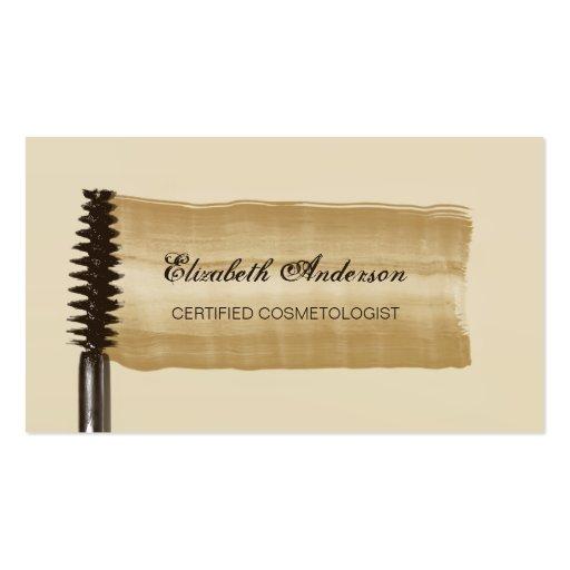 Or et Cosmetologist élégants de mascara de Brown Cartes De Visite Personnelles
