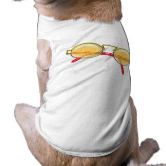 Or et lunettes de soleil rouges de jante de fil t-shirt pour animal domestique