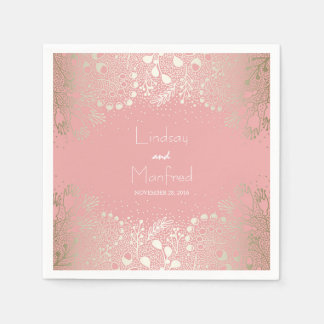 Or et mariage floral de jardin de rose serviettes en papier