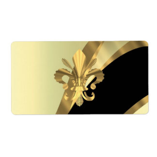 Or fleur de lys personnalisé étiquette d'expédition