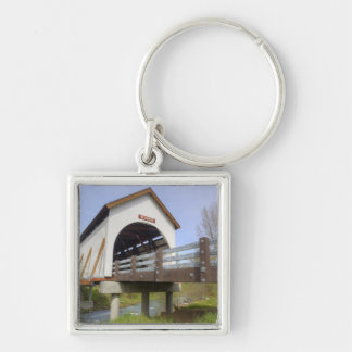 OR, Jackson County, Wimer Covered Bridge Silver-Colored Square Keychain