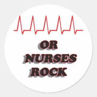 OR NURSES ROCK ROUND STICKER