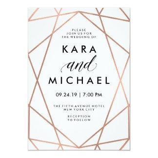 Or rose de Faux moderne minimaliste sur le blanc Carton D'invitation 12,7 Cm X 17,78 Cm