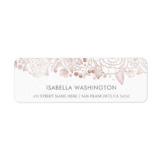 Or rose et fleurs chics du blanc   étiquettes d'adresse retour
