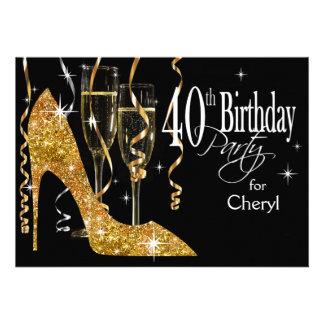 Or stylet d anniversaire de Champagne de scintille Invitations Personnalisées