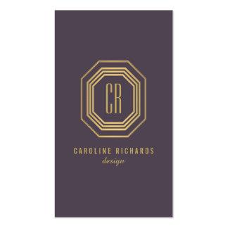 Or vintage fascinant/monogramme pourpre d'art déco carte de visite standard