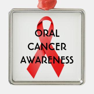 Oral Cancer Awareness Ribbon Silver-Colored Square Ornament