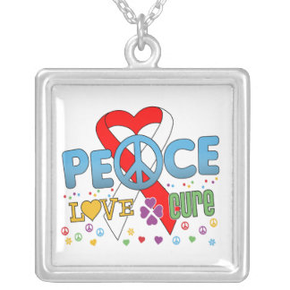 Oral Cancer Groovy Peace Love Cure Square Pendant Necklace