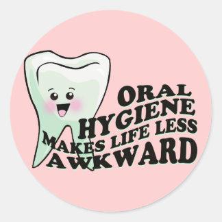 Oral Hygiene Makes Life Less Awkward Classic Round Sticker