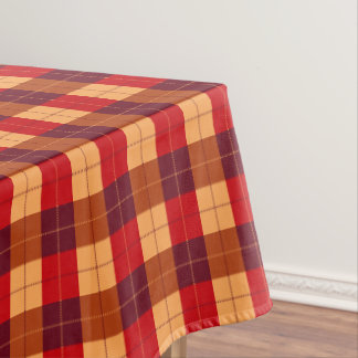 Orang and Black Plaid / tartan pattern table cloth