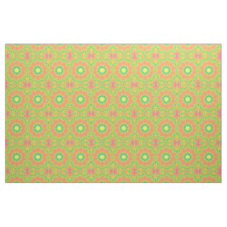 Orang, green and pink fractal pattern fabric