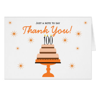 Orange 100th Birthday Cake Thank You Note Card