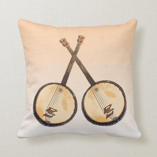 Orange Abstract Banjo Music Instrument Pillow