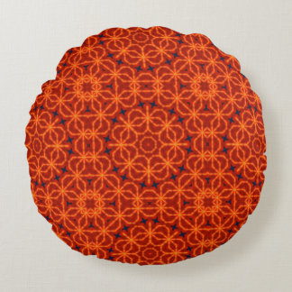 Orange Abstract Pattern Round Pillow