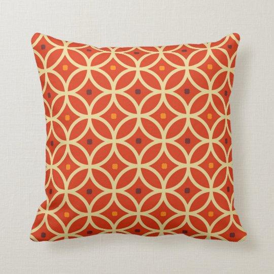 Orange Abstract Seamless 70's Pattern Throw Pillow
