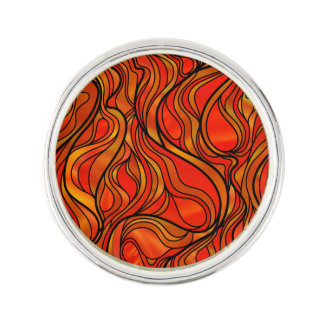 Orange Abstract Stained Glass Lapel Pin