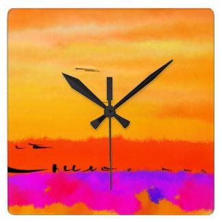 Orange Abstract Sunset Square Clock