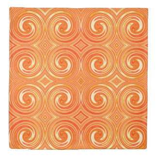 Orange Abstract Swirl Pattern Duvet Cover