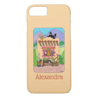 Orange Adobe House and Cats Custom Name iPhone 8/7 Case