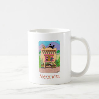 Orange Adobe House & Cute Cats Personalized Coffee Mug