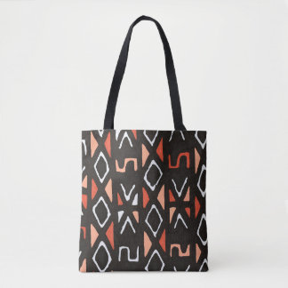 Orange African Mudcloth Contemporary Tribal Print Tote Bag