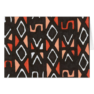Orange African Mudcloth Tribal Print Card