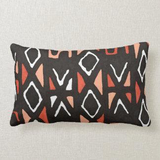 Orange African Mudcloth Tribal Print Lumbar Pillow